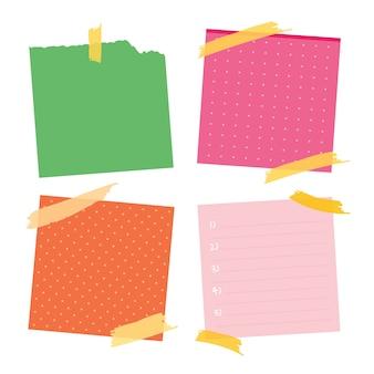 Sticky post note collection. post het voor werkmemo, herinnering om het te doen. office papier sticker collectie.