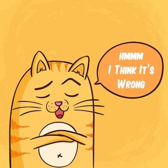 Stiekeme kat en schattige kat met grappige uitdrukking op oranje