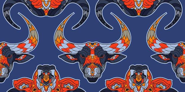 Stier en buffels blauw naadloos patroon. nieuwjaar 2021 maansymbool