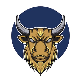 Stier hoofd logo mascotte illustratie