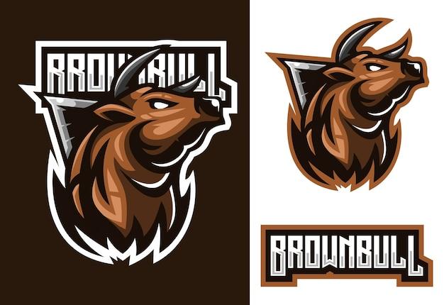 Stier mascotte esport logo ontwerp