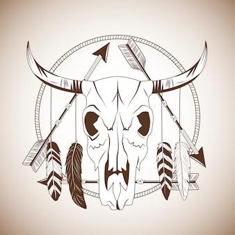 Stier schedel pictogram