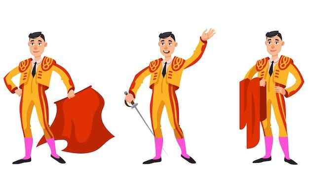 Stierenvechter in verschillende poses. mannelijk personage in cartoonstijl.