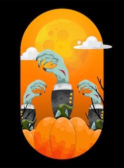 Stijgende zombiehand van halloween-pompoen