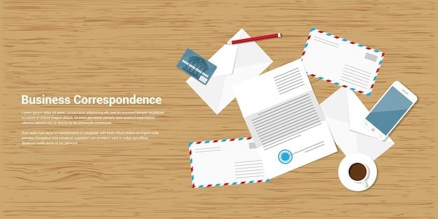 Stijl banner illustratie van zakelijke correspondentie en mailing concept