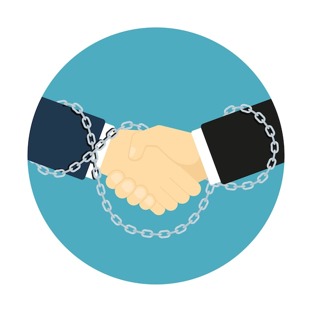 Stijl handdruk pictogram, foto van twee menselijke handen gebonden met kettingen, zakelijk partnerschap concept