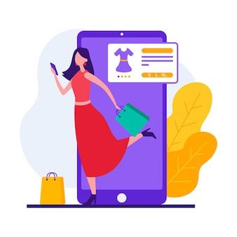 Stijl illustratie van hedendaagse vrouwelijke klant met behulp van app voor online winkelen tijdens het kopen van kleding op internetwinkel
