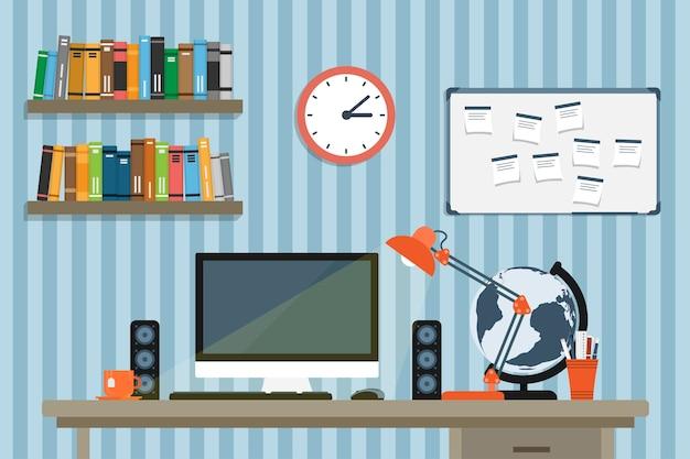 Stijl illustratie van moder werkplek in kamer of kantoor, werkruimte van creatieve werknemer