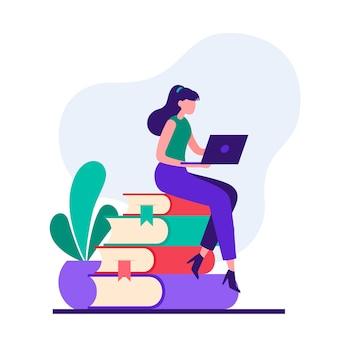 Stijl illustratie van vrouwelijke student karakter zittend op stapel boeken en met behulp van laptop tijdens het online studeren