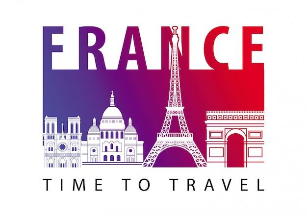 Stijl van het het oriëntatiepuntsilhouet van frankrijk de hoogste beroemde op vlottereiland