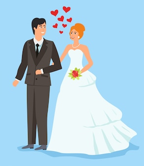 Stijl van verliefde paar. dag van het huwelijk.