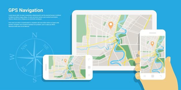 Stijl van webbannersjabloon voor website of infographics, mobiel navigatie-gps-systeem, bestemmingslocatie, spotten en vind de juiste manier.