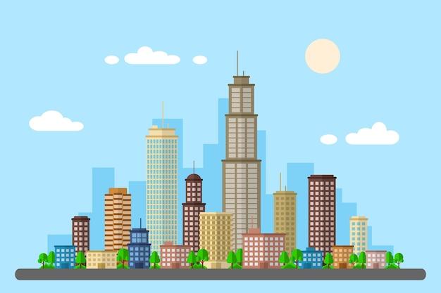 Stijl webbanner, leven in de grote stad, stedelijk landschap, onroerend goed advertentie