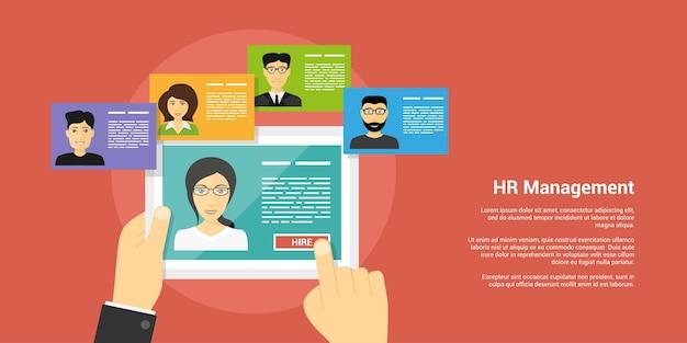 Stijlbanner, human resource en rekruteringsconcept, menselijke handen en mensenavatars
