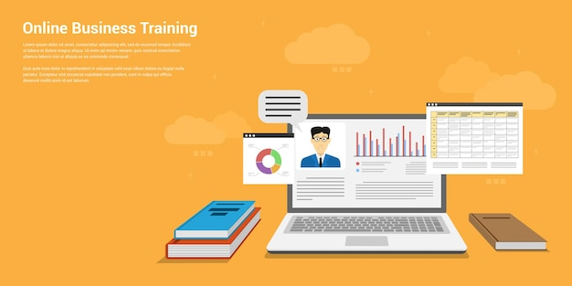 Stijlbanner van online bedrijfstraining, webinar, online onderwijsconcept