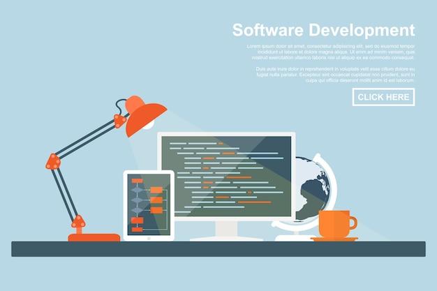 Stijlconcept voor softwareontwikkeling, programmeren en coderen, zoekmachineoptimalisatie, webontwikkelingsconcepten