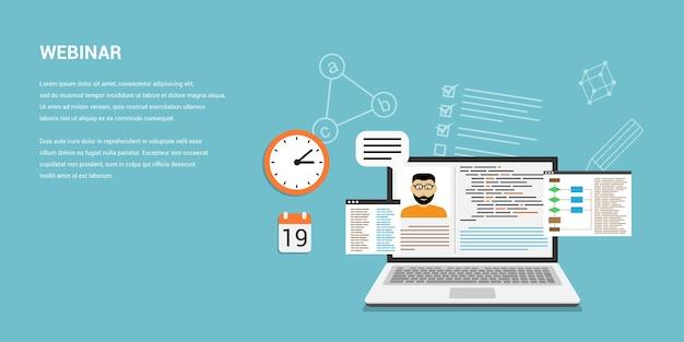 Stijlsjabloon voor online webinar, online onderwijs, technologieconcept voor afstandsonderwijs. bruikbaar voor webbanner, wo-sites, gedrukt materiaal, infographics
