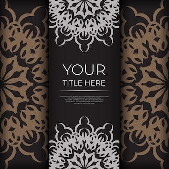 Stijlvol ansichtkaartontwerp in zwart met griekse patronen. vector uitnodigingskaart met vintage ornament. Premium Vector