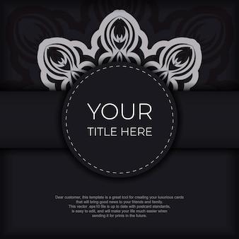 Stijlvol ansichtkaartontwerp in zwarte kleur met vintage patronen. stijlvolle uitnodiging met grieks ornament.