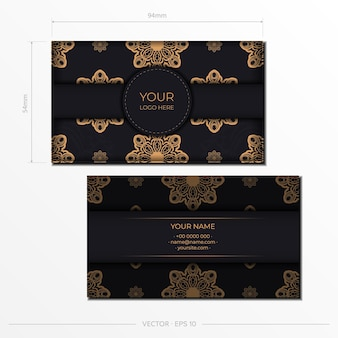 Stijlvol ansichtkaartontwerp in zwarte kleur met vintage patronen. vectoruitnodigingskaart met grieks ornament.