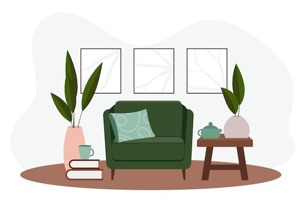 Stijlvol appartementinterieur in scandinavische stijl met een moderne inrichting. gezellig ingerichte woonkamer. cartoon platte vectorillustratie. lichte, stijlvolle en comfortabele meubels met kamerplanten.