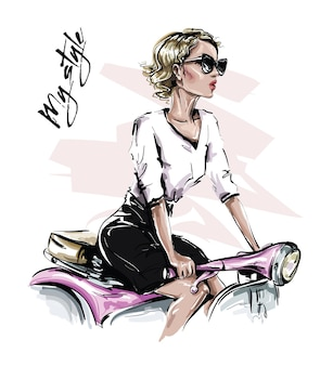 Stijlvol blind haar meisje zittend op de fiets