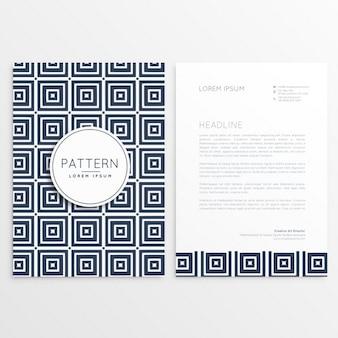 Stijlvol briefpapier ontwerp met vierkante patronen