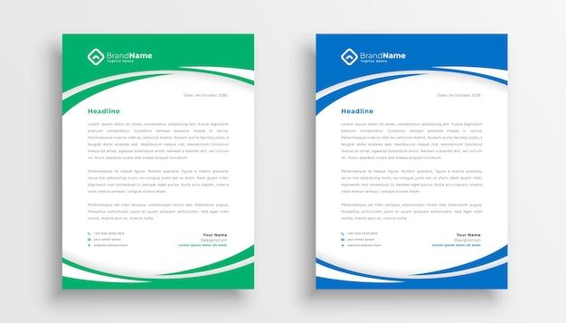 Stijlvol briefpapier van een zakelijk bedrijf in groene en blauwe kleur