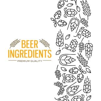 Stijlvol design kaartje met afbeeldingen rechts van de gele tekst bier ingrediënten van bloemen, takje hop, bloesem, mout