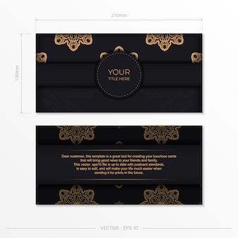 Stijlvol, drukklaar ansichtkaartontwerp in zwart met vintage patronen. uitnodigingskaartsjabloon met grieks ornament.