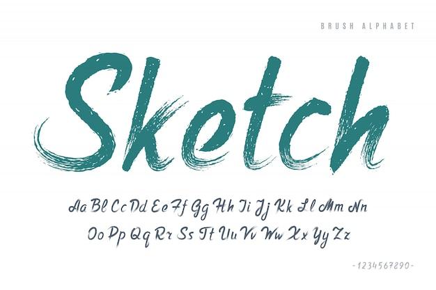 Stijlvol geschilderd door een penseel in hoofdletters vectorletters