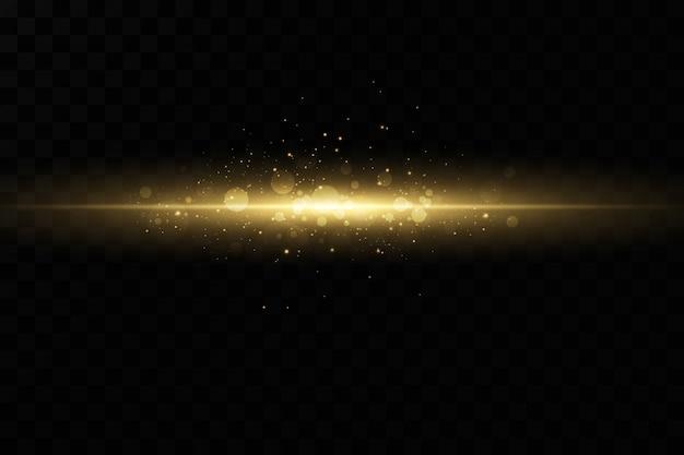 Stijlvol gouden lichteffect. abstracte laserstralen van licht. chaotische neonstralen van licht. gouden glitters. geïsoleerd op transparante donkere achtergrond.