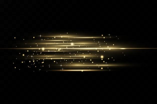Stijlvol gouden lichteffect. abstracte laserstralen van licht. chaotische neonstralen van licht. gouden glitters. geïsoleerd