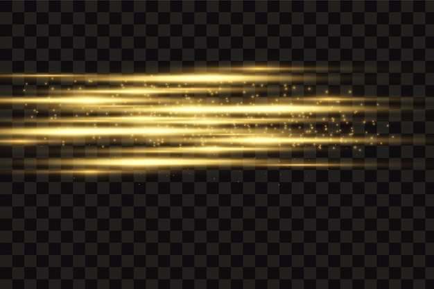 Stijlvol gouden lichteffect. abstracte laserstralen van licht. gouden glitters. geïsoleerd op transparante donkere achtergrond
