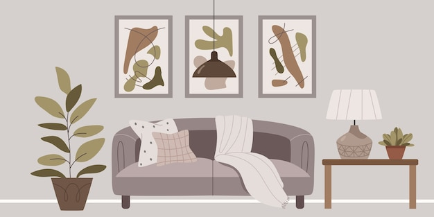 Stijlvol interieur in grijsbruine kleuren.