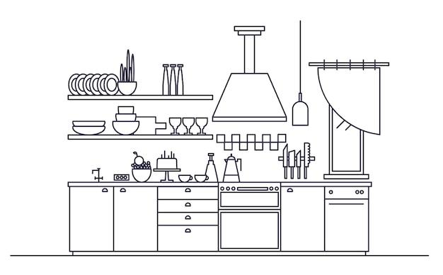 Stijlvol interieur van moderne keuken ingericht met elektronische huishoudelijke apparaten, kookgerei en kookgerei