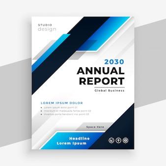 Stijlvol jaarverslag blauwe zakelijke brochure sjabloonontwerp