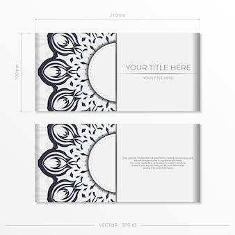 Stijlvol, kant-en-klaar wit ansichtkaartontwerp met donkere vintage ornamenten. uitnodigingskaartsjabloon met griekse patronen.