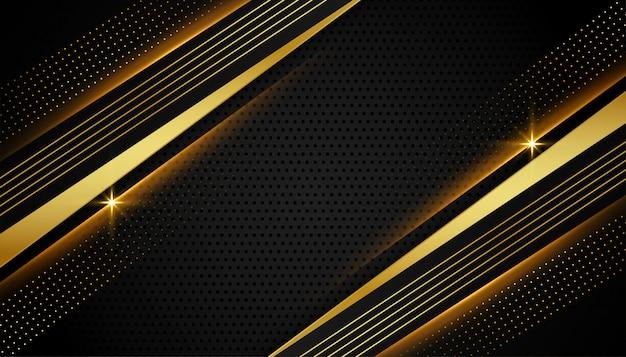 Stijlvol lineair zwart en gouden abstract