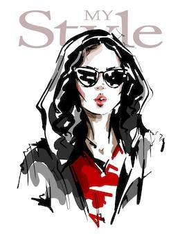 Stijlvol meisje in zonnebril.