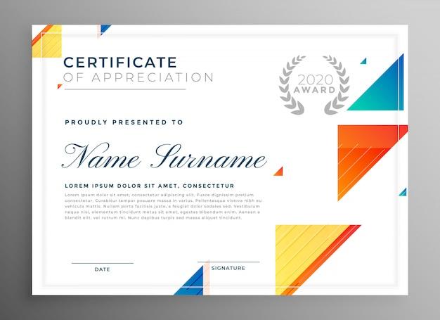 Stijlvol modern certificaat van waardering sjabloonontwerp