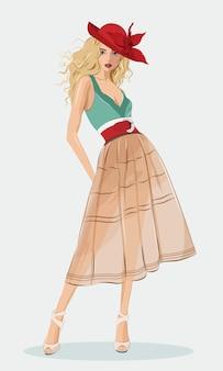 Stijlvol mooi meisje mode kleding en rode hoed dragen. gedetailleerde schattige grafische vrouw. mode illustratie.