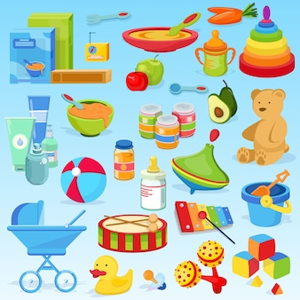 Stijlvol, mooi, schattig babyspeelgoed, ontwikkelend ding, babyvoeding. pap, fruitpuree, fruit, speelgoed, xylofoon, gekleurde piramide, speelgoedtrommel.