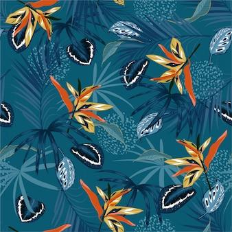 Stijlvol naadloos patroon vector donker tropische jungle en monotone palmbladeren, exotische palnts met dierenhuid bloemenontwerp