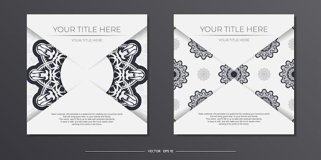 Stijlvol printklaar wit ansichtkaartontwerp met vintage patronen. vector sjabloon van uitnodigingskaart met bedauwde sieraad.