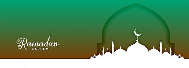 Stijlvol ramadan kareem moskee festival bannerontwerp