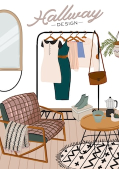 Stijlvol scandinavisch entreehalinterieur en woondecoraties. vrouwelijke kleren in kledingkast. kledingorganisatie en opslag. illustratie voor vrouwenwinkel, boetiek, winkel
