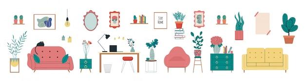 Stijlvol scandinavisch woonkamerinterieur - bank, fauteuil, boeken, tafel, planten in potten, lamp, woondecoraties. gezellig herfstseizoen. modern comfortabel appartement ingericht in hygge-stijl.