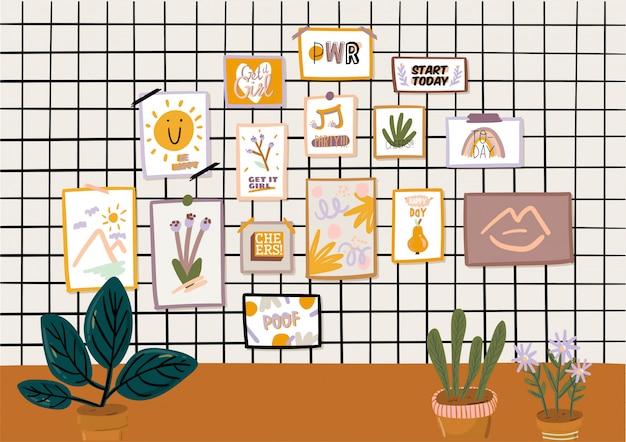 Stijlvol scandinavisch woonkamerinterieur - bank, fauteuil, salontafel, planten in potten, lamp, woondecoraties. gezellig herfstseizoen.