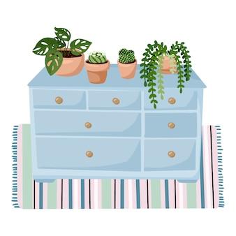 Stijlvol scandinavisch woonkamerinterieur - kledingkast met vetplanten op een tapijt. home lagom decoraties